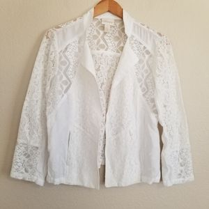 Chico's White Embroidered Spring Open Jacket S